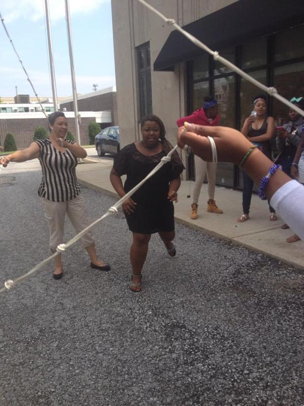 Double Dutch game with girls from the Earth Mama Healing Institute on their national quality of life road trip.